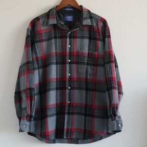 {Pendleton} Red & Black Heavy Wool Button Down Top